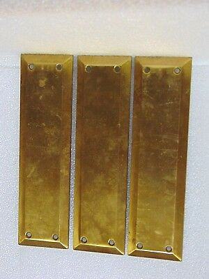 3 vintage BRASS BACKPLATES architectural salvage DOOR PLATES PUSH HARDWARE $9.95