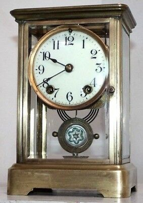 Antique Ansonia Empire Crystal Regulator Clock W/ Porcelain Dial & Beveled Glass