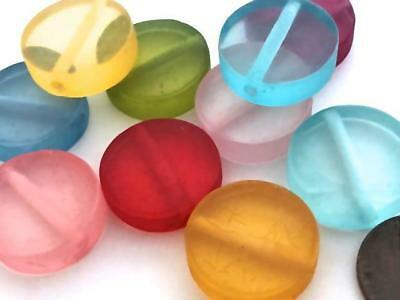 Vintage 20mm Translucent Resin Disc Beads Mix 10