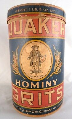 1920's era Antique Quaker Oats Chicago Hominy Fancy Grits Cardboard Canister Box