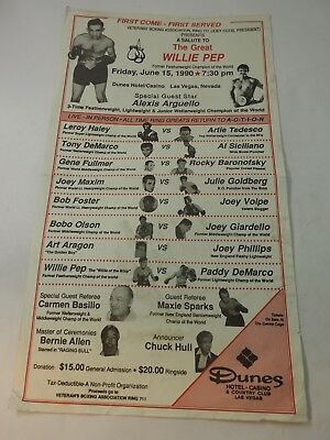 A Salute to The Great Willie Pep Dunes Hotel & Casino Las Vegas Poster June 1990