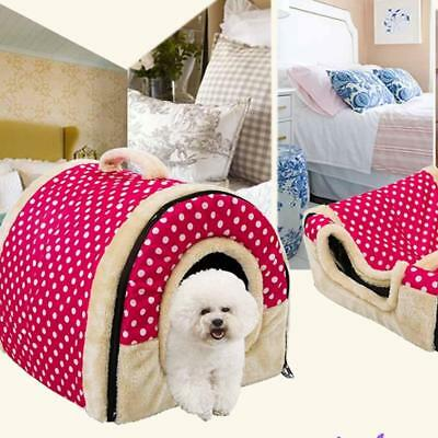 Dual-use Washable Portable Pet Dog Cat Bed House Soft Warm Removable Cover NEW