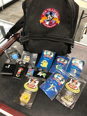 AUTHENTIC Walt Disney World Trading Pin Lot With Bag Mickey Minnie Pooh HUGE *12
