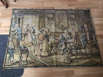 """Antique RARE Made In Belgium Tapestry W/ Victorian Scene  40"""" X 54"""" Wall Hanging"""