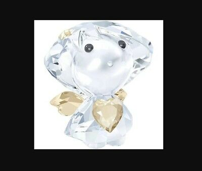 "Swarovski Clear Crystal Figurine Angel with Topaz heart 1.5"" x 1 3/8"" x 1"""