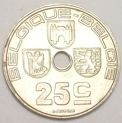 1938 Belgium Belgian 25 Centimes WWII Era Three Shields Coin VF+