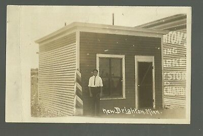 New Brighton MINNESOTA RP c1910 BARBER SHOP Pole nr Fridley Shoreview BARBERSHOP