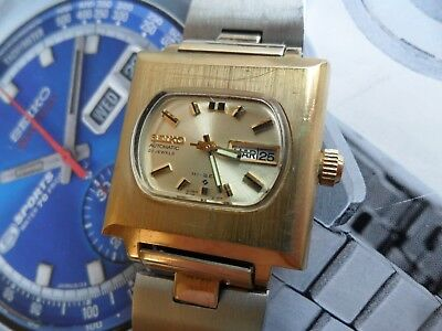 Clean Vintage 1975 Gold Tone Seiko 21J Hi-Beat Automatic Day Date 2706-7000 Runs