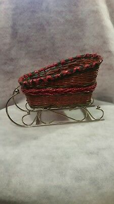 """Christmas Red Wicker Basket Santa Sleigh Centerpiece Nuts Candy Greens Large 10"""""""