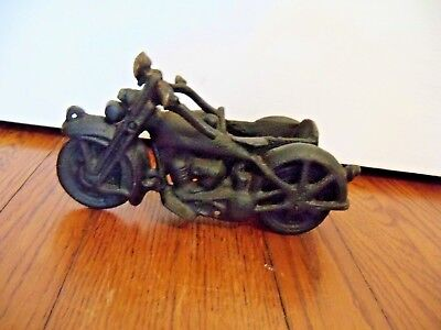 Vintage Antique Cast Iron Harley Davidson Style Design Motorcycle With Sidecar