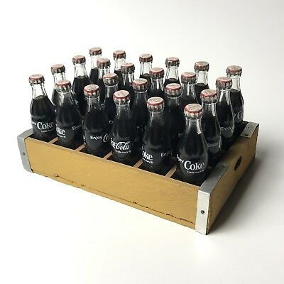 Miniature Coca Cola 24 Wooden Case / Tray 1 Bottle Missing COKE