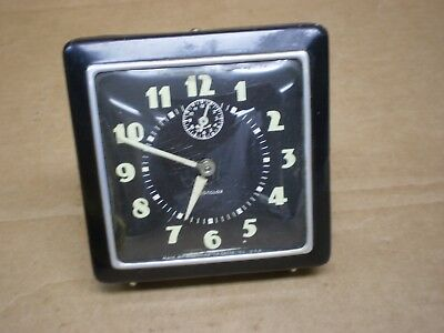 Vintage Westclox Spur Wind Up Square Alarm Clock Usa Working