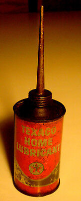"""Vintage 1950's Texaco Home Lubricant Can w/Metal Spout 6-1/2""""Tall, 3 oz-No Dents"""
