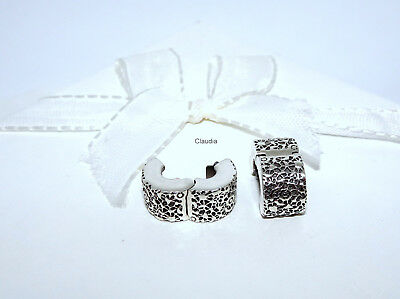 Original Pandora EIN PAAR SPITZE CLIPS Layers Of Lace 791758 Stopper Silber