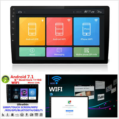 "Touch 9"" Android 7.1 Double Din Car Stereo Radio GPS Wifi OBD HD Mirror Link BT"
