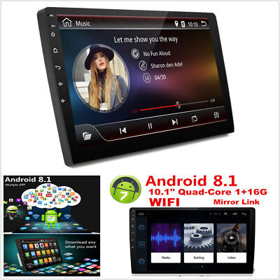 """10.1"""" HD 2DIN 4 Core Android 8.1 Car Bluetooth Radio Stereo MP5 Player GPS WIFI"""