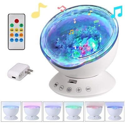 Ocean Wave Projector Remote Control 12 LED 7 Colors Night Light Music Player