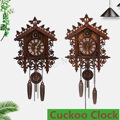 2018 Handcraft Wood Cuckoo Clock House Swing Wall Clock Vintage Home Art Decor