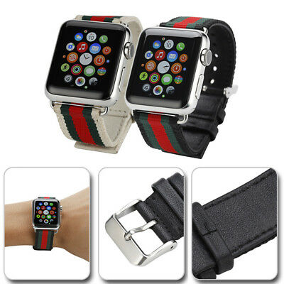 Gucci Stripe Pattern Nylon Leather Watch Band Strap for Apple iWatch 1/2/3/4