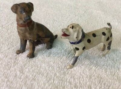 2 Vintage Die Cast Dogs, Small Figures,