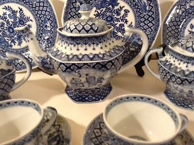 Antique Hand Painted Japanese Blue and White Porcelain Tea Set Made in Holland