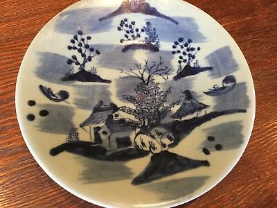 Antique Chinese Ming Dynasty Porcelain Pottery Hand Painted Landscape Bowl