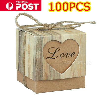 100Pcs Rustic Kraft Paper Candy Gift Boxes Wedding Birthday Baby Shower Favor A