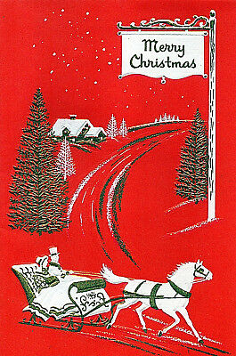 Vintage Card ONE HORSE SLEIGH RIDE w MERRY CHRISTMAS SIGN By ROAD Red,Gold,White