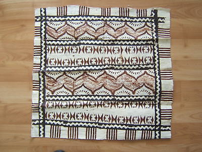 """Vintage 24"""" by 24"""" Polynesian TAPA Bark Cloth with Geometric Design from Estate"""