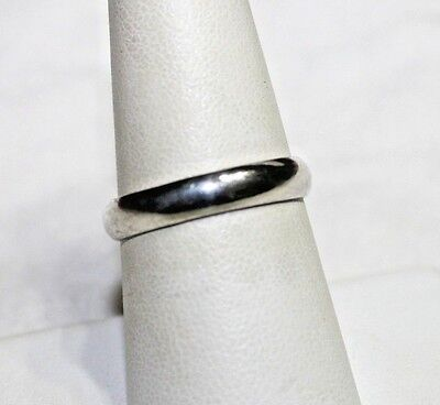 Vintage Sterling Silver Solid Plain Band Ring 7.5 Wedding Band Great Stacker