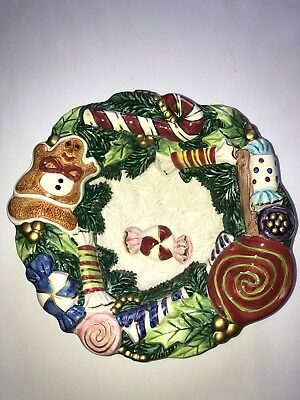Fitz and Floyd Classics Christmas Candy Dish Display Nut Bowl Hand Paint Serving