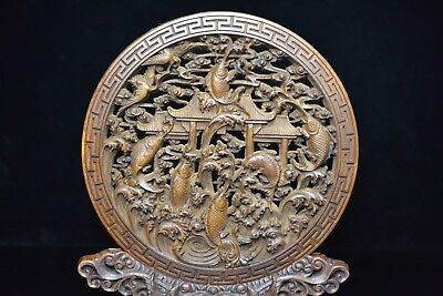 Antique Rare Old Boxwood Handwork Carp Leaped Dragon Gate Big Folding Screen