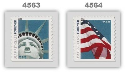 4563-64 4564 Forever Lady Liberty & Flag 2 Remounted Singles 2011 MNH - Buy Now
