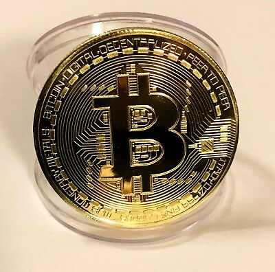 BITCOIN!! Gold Plated Physical Bitcoin in protective acrylic case FREE SHIP N-a