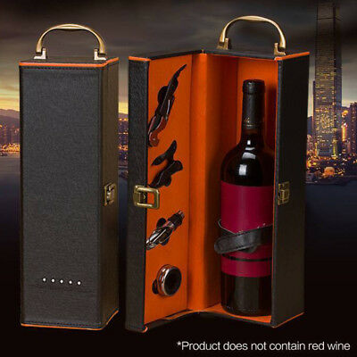 PU Leather Holder Red Wine Bottle Storage Carry Case Gift Box With Accessories