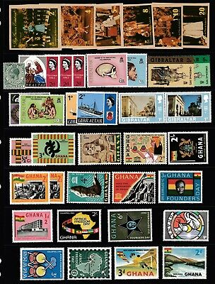 Page Of Pre-Decimal & Decimal Stamps From Gibraltar & Ghana - Muh/mlh #57