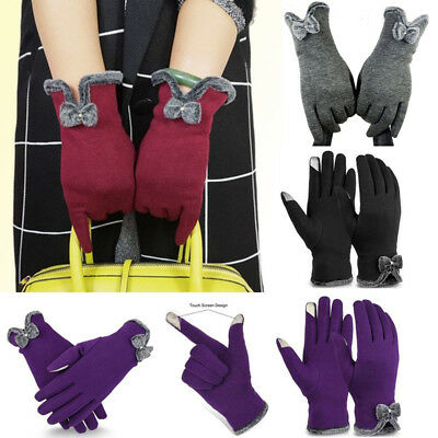 Womens Winter Warm Velvet Gloves Touch Screen Full Finger Driving Wrist Mittens