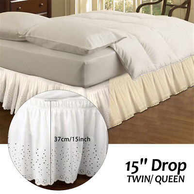 1.5x2.0m/2.0x2.0m Twin/ Queen Bed Skirt Ruffled Bedspread Cover Valance Bedskirt