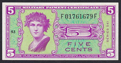 United States Military Payment Certificate 5 Cents 1958 P - M 36, Series 541 Unc