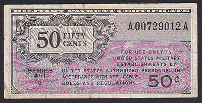 United States Military Payment Certificate 50 Cents 1946 P - M 4 Red, Series 461
