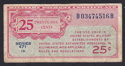 United States Military Payment Certificate 25 Cents 1947 P - M 10, Series 471