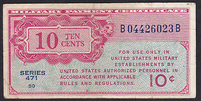 United States Military Payment Certificate 10 Cents 1947 P - M 9, Series 471