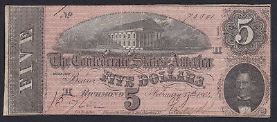United States 5  Dollar 1864, Confederate States Currency,