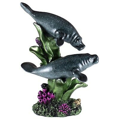 "Pair of Manatees Figurine 7.75"" High Glossy Finish Resin New!"