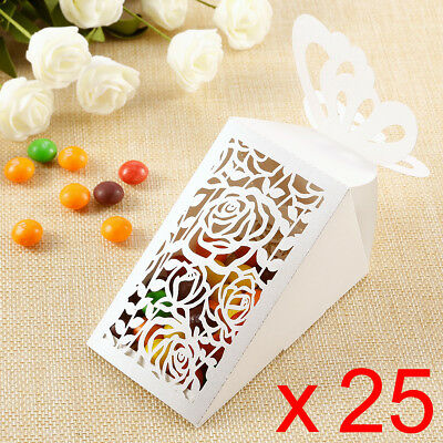Job Lot of 25pcs Wedding Xmas Candy Sweet Boxes Natural Floral Tie No Ribbon