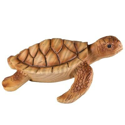 "Small Sea Turtle Figurine Faux Carved Wood Look 3.25"" Long Resin New!"