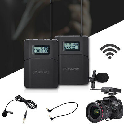WM-8 UHF Wireless Lavalier Lapel Microphone System for iPhone Samsung DSLR Came