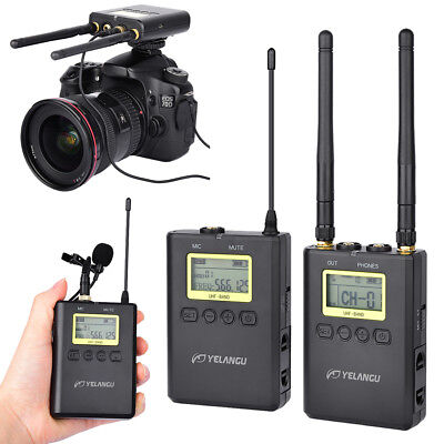 WM-9 UHF Wireless Lavalier Lapel Microphone System for Came Recorder DSLR Phone