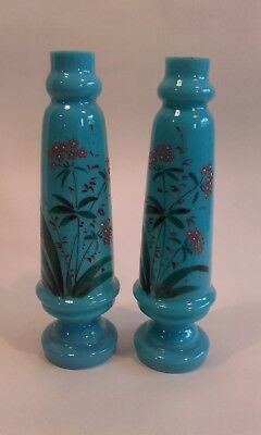 A Pair of Antique 19thc French Opaline Blue Glass Vases ~ 19 cm