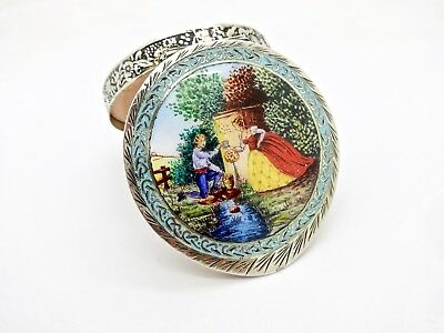 Small Vintage Italian Enamel Romance Scenery 800 Silver Compact